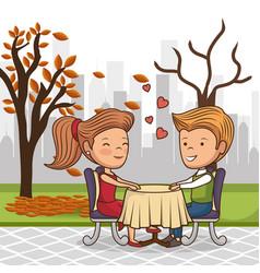 Bridal couple having dinner on the street vector