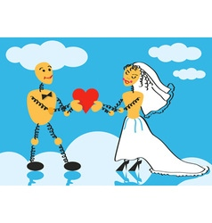 bride and groom on cloud vector image