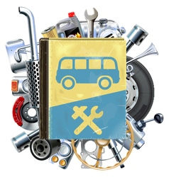 Bus repair book with car spares vector