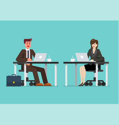 business man and woman working on a laptop vector image