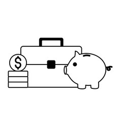 business suitcase piggy and coins vector image