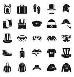 Buying winter clothes icons set simple style vector