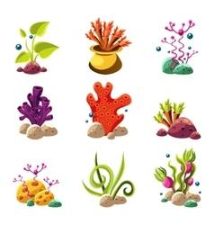 Cartoon underwater plants and creatures vector