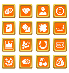casino icons set orange square vector image
