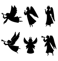 Christmas angel silhouette set vector