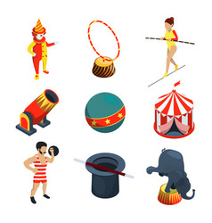 Circus icon set people animals magician show vector