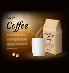 coffee advertising poster design template with vector image