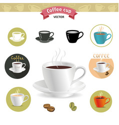 coffee and tea cups for fast food or restaurant vector image