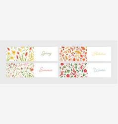 collection of seasonal horizontal banner templates vector image