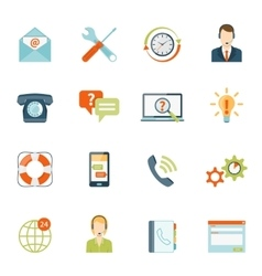 Contact Us Customer Support Icons Set vector