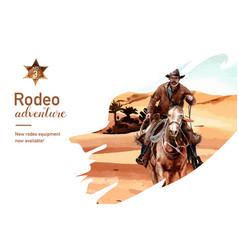 Cowboy frame design with horse person desert vector