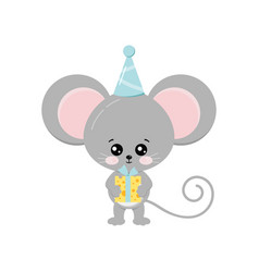 Cute mouse with cheese gift in birthday cap vector