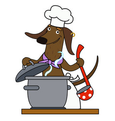 Dachshund chef cartoon vector