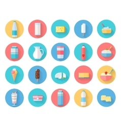 Dairy Products Icons Set vector