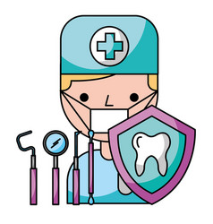 dentist man tooth tools protection hygiene dental vector image