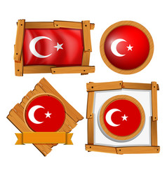 Different frame design for flag of turkey vector