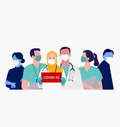 Doctors and nurses warn danger corona virus vector