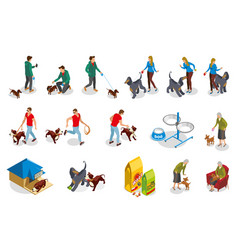 Dog ordinary life isometric icons vector