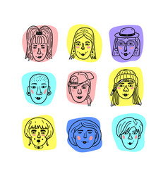 Female faces doodle portraits of girls vector
