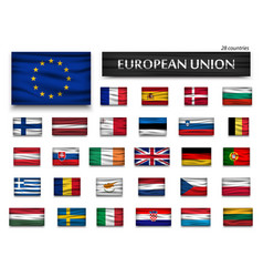 flags of european union and members wavy design vector image
