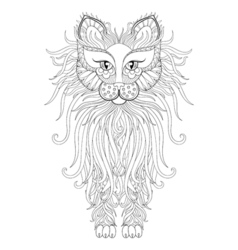 fluffy cat in zentangle style freehand sketch vector image