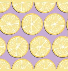 fruit seamless pattern lemon slices with shadow vector image