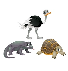 Funny Australian animals ostrich turtle and Komodo vector