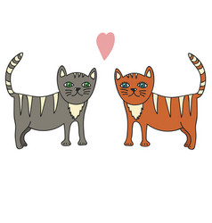 hand drawn a pair of cats vector image
