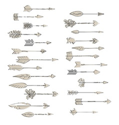 Hand drawn arrows collection Doodle ethnic indian vector image