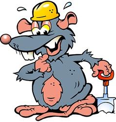 Hand-drawn of an rat holding a spade vector
