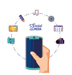 hand with smartphone and social media set icons vector image