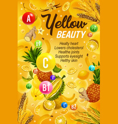 Healthy food and vitamins color yellow diet vector