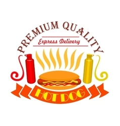 Hot dog ketchup and mustard fast food icon vector image