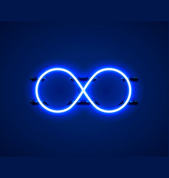 infinity neon symbol on blue background vector image
