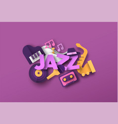 Jazz band music quote with papercut musical icon vector