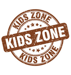 Kids zone brown grunge round vintage rubber stamp vector