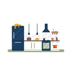 Kitchen interior flat vector image vector image