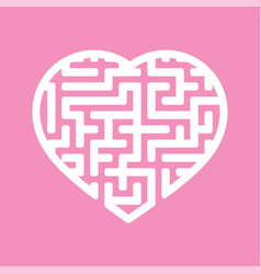 labyrinth heart a simple flat isolated on a pink vector image