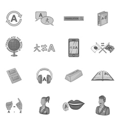 Language education icons set gray monochrome style vector image