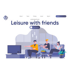 leisure with friends landing page with header vector image