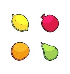 Lemon pear mandarin and garnet set isolated on vector