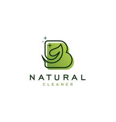 Letter b with leaf logo design vector