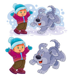 Little boy playing with his dog outdoor vector