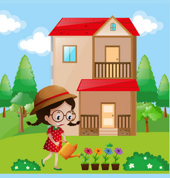 Little girl watering flowers in garden vector