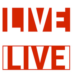 live stream icon social networks red letters vector image