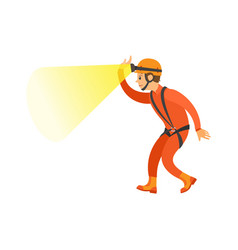 male in orange suit and helmet activity vector image