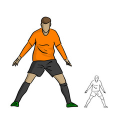 male soccer player celebrating goal on a soccer vector image