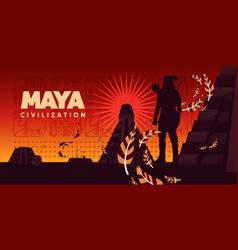 Maya civilization horizontal vector