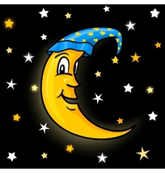 moon in nightcap with stars vector image