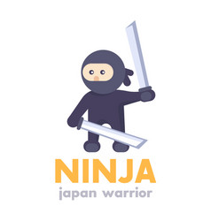 ninja holding swords in hands in flat style vector image